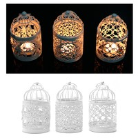 1PC 3 Types Metal White Holder Tealight Candlestick Hollow Hanging Lantern Bird Cage Vintage Wrought Candle Holders New XQ