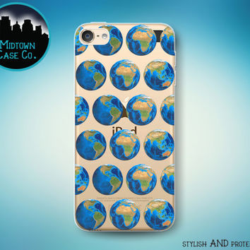 Earth Continents Pattern Globe Oceans Africa Asia America Australia Europe World Clear Transparent Rubber Case for iPod Touch 6th or 5th Gen