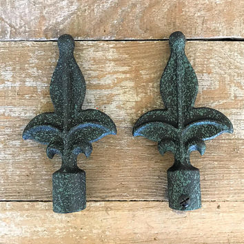Finials Cast Iron Fleur De Lis Finials Curtain Rod Ends Drapery Hardware Architectural Hardware Window Dressing Home Improvement