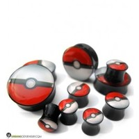 Pokeball Plugs (2G - 1 Inch) Sold In Pairs | UrbanBodyJewelry.com