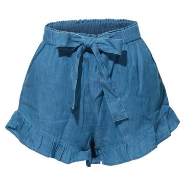 LE3NO Womens Stretchy High Waisted Ruffled Denim Tencel Short with Pockets