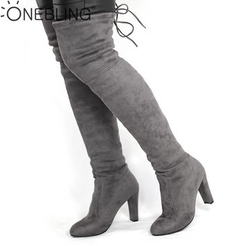 Spring Autumn Woman Boots Fashion Thigh High Heel Boots Sexy Over the Knee Stretch Silm Boot for Women Overknee Shoes Flock