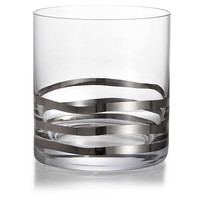 Wave Old Fashion Glasses, Platinum, Set of 4, Assorted Sets of Barware Glasses