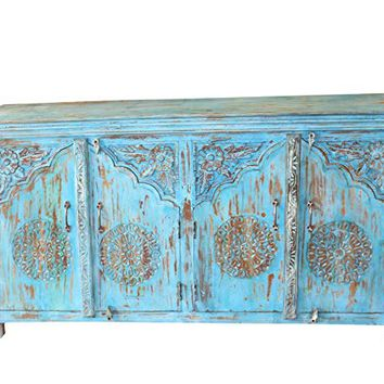 Mogul Interior Antique Jaipur Blue Distressed Arched Door Sideboard Indian Console Rustic Chest Buffet