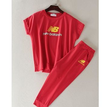 """New balance"" Fashion running sports shorts sleeve show thin T shirt suit Red"