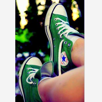 Adult Leisure  Converse All Star Sneakers High-Top Leisure shoes Green