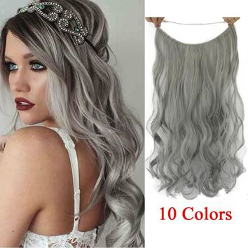 10 Colors Synthetic  Heat Resistant Hairpieces Fish Line Halo Invisible Hair Extensions