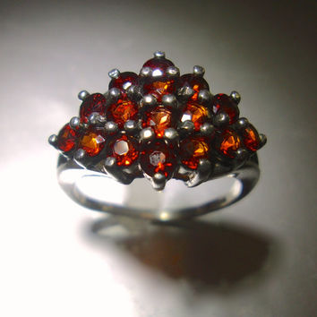 Red Garnet Cluster Sterling Silver Ring, Prong Set, Vintage sz 6