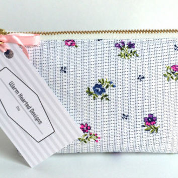 Small Cosmetic Bag,Small Makeup Bag,Vintage Makeup Bag,Vintage Cosmetic Bag,Small Zipper Pouch,Floral Makeup Bag,Bridesmaid Gift,Bridal Bag