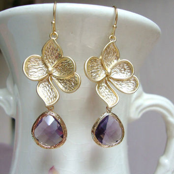 Matte Gold Dogwood Flower and Amethyst Glass Dangle Earrings. Bridesmaid Earrings. Fall Wedding. Garden Wedding. Wedding Jewelry