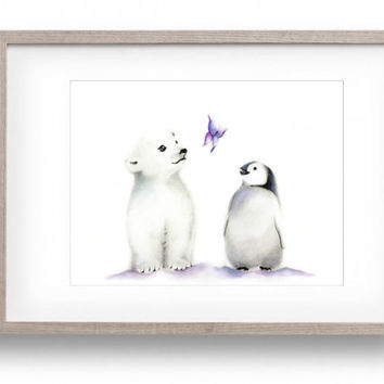 Polar Bear Nursery Art, Penguin, Lavender and Grey Nursery, Butterfly, Girl Nursery, Baby Animal, Kids Art, Painting, Nursery Wall Decor