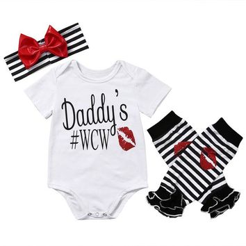 Daddy's #WCW Baby Girl White Bodysuit 3PC Set With Matching Headband and Leggings