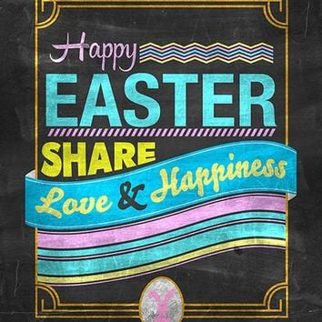 Easter Chalkboard Blue Type Printed Photo Background / 1484