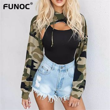 2017 Autumn New Camouflage Cut Out Hoodies Women Irregular Sweatshirts Fashion Casual Pullover Crop Tops Women Front Hollow Hood