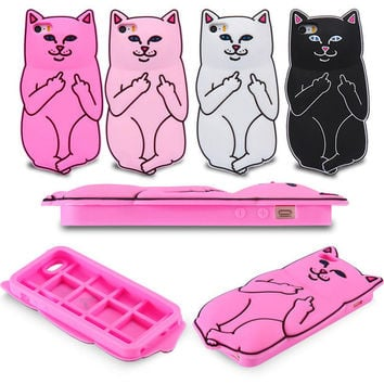 Super Cute Sillcon Cartoon Cat iPhone 5 5S 6 6S 6 6S Plus Case Cover