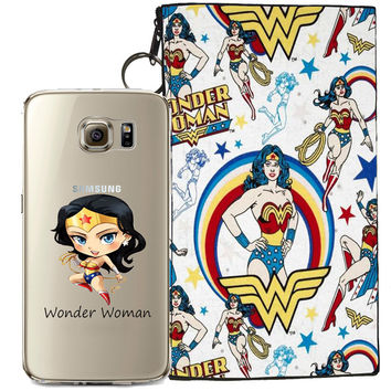 Wonder Woman Jelly Clear Case For Samsung Galaxy S7 + Pouch