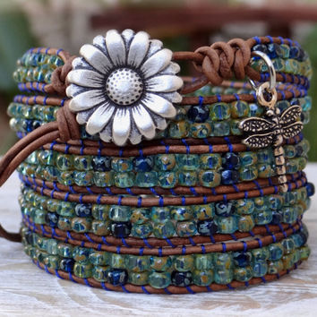 Leather And Seed Bead Wrap Bracelet, Seed Bead And Leather Wrap Bracelet.