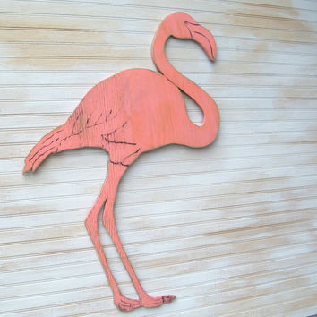 Flamingo Wooden Wall Art Pink Flamingo Coral Florida