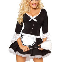 Black Ruffled V-Neck French Maid Costume