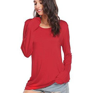 Soteer Womens Long Sleeve Tops Cotton Blend Crew Neck Casual Teen Girls Tees Loose T Shirts