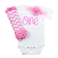 Baby Girl First Birthday Outfit, Pink 1st birthday Onesuit,  Headband Set, Pink,Chevron Leg Warmers - One Birthday
