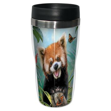 Red Panda Selfie Travel Mug - Premium 16 oz Stainless Lined w/ No Spill Lid