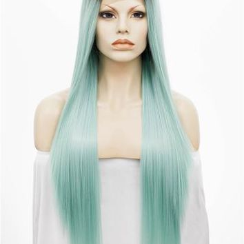 Light Cyan Green Ombre Straight Long Synthetic Lace Front Wig