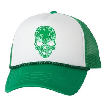 Green Irish shamrock skull dual color trucker hat