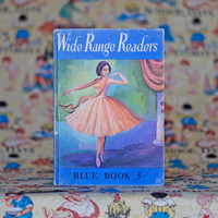 Vintage Children's Book Wide Range Readers Blue Book 5 Picture Book 1960s Short Stories Illustrations Nursery Decor Learning to Read