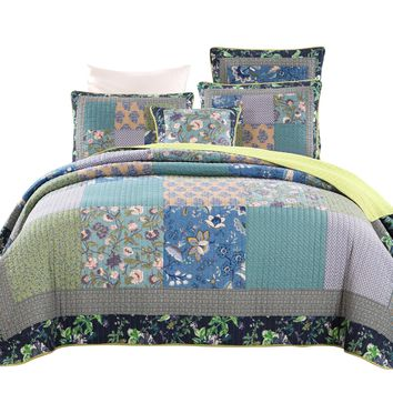 Tache 2-3 Piece Cotton Bohemian Tropical Calla Lily Patchwork Quilted Coverlet (JHW-687)