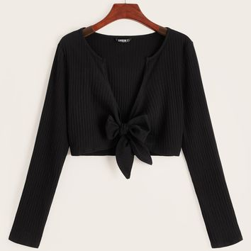 Tie Front Rib-knit Top