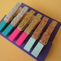 6 Colorblock Glitter Mini Clothespins Pink Teal Mint Gold Silver Copper