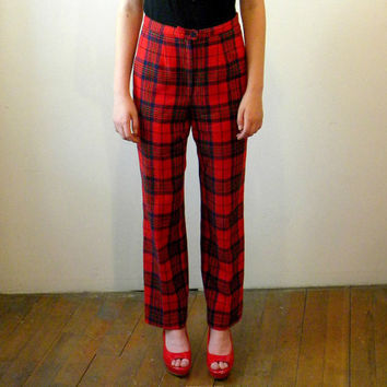 Vintage High Waisted Pants / Red Plaid Pendleton Wool / 1970s / Size 8 10 / SPECIAL BUY