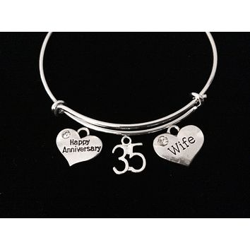 Happy 35th Anniversary Wife Jewelry Silver Expandable Charm Bracelet Adjustable Bangle Trendy One Size Fits All Gift