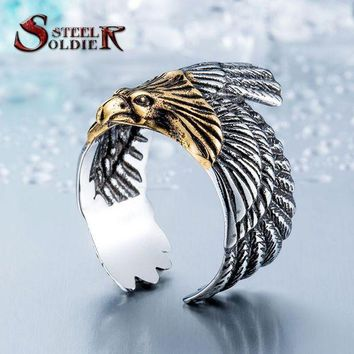 DCCKU62 Steel soldier Unique jewelry Stainless Steel Biker Eagle Ring Man's High Quality Jewelry