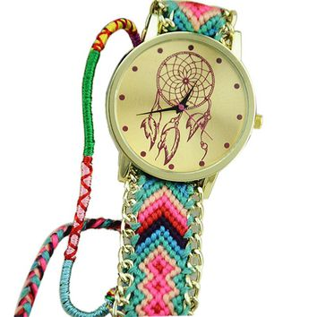 New Women Watches Dreamcatcher Friendship Pattern Bracelet Watch Women Braid Dress Watches Montre Femme Relojes Mujer
