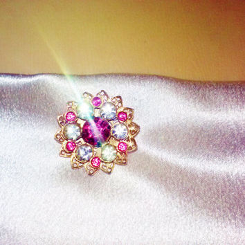 Pink Magenta and White Clear Crystal Rhinestone Sparkling Star Flower Vintage Brooch Pin Costume Jewelry Valentine's Day Special from Estate