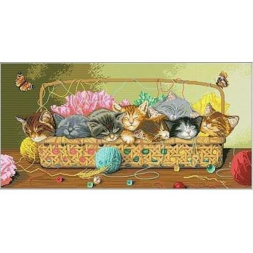 High Quality Cute Counted Cross Stitch Kit Set Cats Kitties in Basket Cat Kitty Litter dim 35184