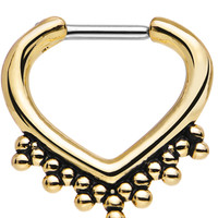 """16 Gauge 1/4"""" Gold IP Eastern Inspiration Septum Clicker 