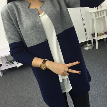 Color Block Single Button Long Sleeve Cardigan