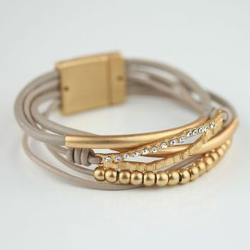 Stranded Latte Coloured Leather Cuff Style Bracelet