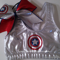 Cap'n Am  Metallic Sports Bra and Bow Set by SparkleBowsCheer
