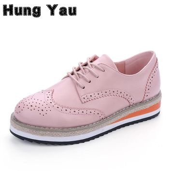 Brogue Shoes Women Candy Colors Platform Women Oxfords British Style Creepers Cut-Outs Flat Casual Women Shoes zapatos mujer