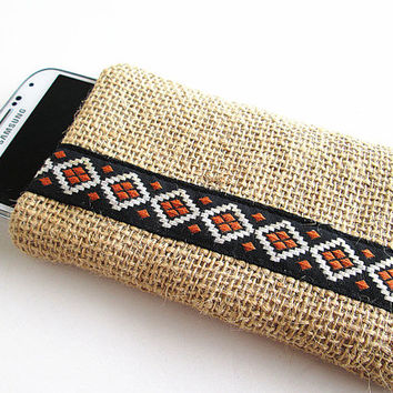Burlap Iphone 5s, Iphone 5c, Iphone 5 Sleeve, IPhone case, IPhone cover, iPod case, iPhone Sleeve (padded).