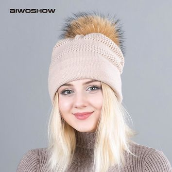 2017 Pom Pom Raccoon Fur Ball Hat Solid Color Cap Winter Beanie Fur Wool Hat Gorro Feminino Inverno Touca Hat For Girls