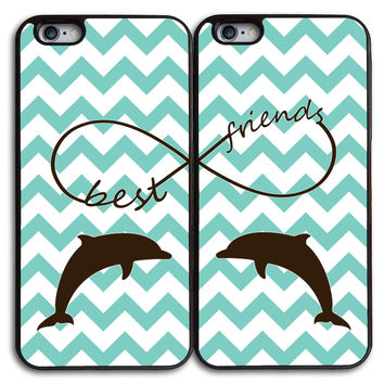 Cute Dolphin on Chevron Matches Case for iPhone and Samsung Series,Two Differrent Phone Models Mixed OK