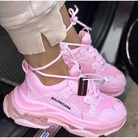 Balenciaga Shoes High Quality  Fashion Women Men Letters Contrast Crystal clear shoes Triple sole Shoes Pink
