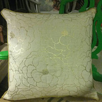 "Decorative Pillow White Burlap Stamped with Gold Oversized Flowers. Matching Piping. 18"" × 18""."