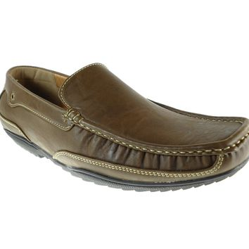 Mens Rocus Comfort Slip On Moccasin Loafers Shoes Antonio Khaki