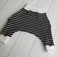 Baby Harem / Ninja Pants in Black & Oatmeal Strip Brushed Rib Knit / Ivory Waist and Ankles - A gift idea from Cwtch Bugs